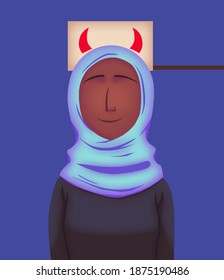 Young muslim woman unfairly blamed, person holding up a picture with horns behind her. End islamophobia and discrimination