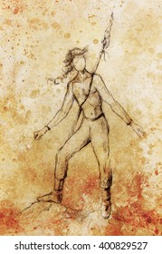 young native american indian warrior with spear weapon , figure drawing.