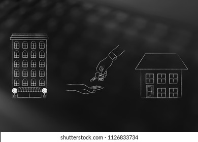 young people and housing conceptual illustration: condo apartment building vs detatched house with hands exchanging keys in between