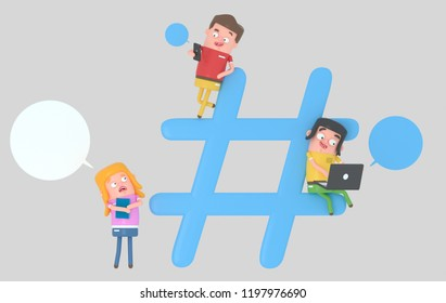 Young people over hashtag internet symbol. 3d illustration