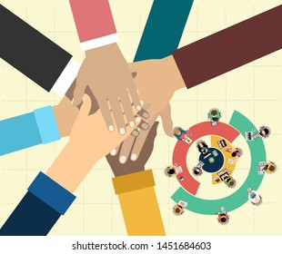 Young people putting their hands together. Friends with stack of hands showing unity and teamwork, top view. flat illustration.