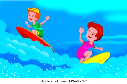 Young people surfing. Child on a surfboard on the ocean wave.     Active water sports for children.