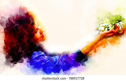 Young poetic woman with flower and softly blurred watercolor background.