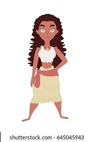 Young Polynesian girl clip art