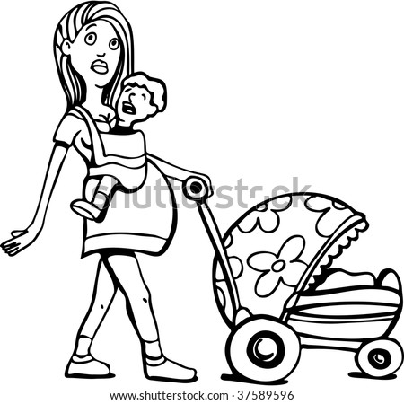 Young Pregnant Woman Many Children Art Stock Illustration 37589596