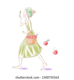 Young pretty smiling girl holding wicker basket full of red ripe autumn apples, Seasonal fruit gathering, fall harvest in apple garden, agriculture and farming concept, high resolution JPEG