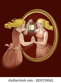 Young pretty woman looks into a mirror for know herself surreal digital painting