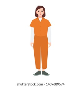 Young sad woman dressed in orange prisoner uniform isolated on white background. Suspect, convicted criminal, arrested or punished person. Flat female cartoon character. illustration