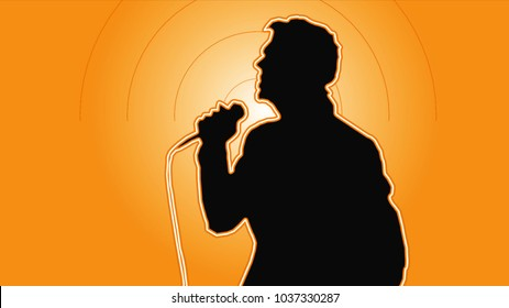 Young singer man in his jacket singing into the microphone on a yellow background in the retro style