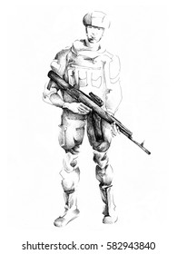 Young smiling soldier illustration