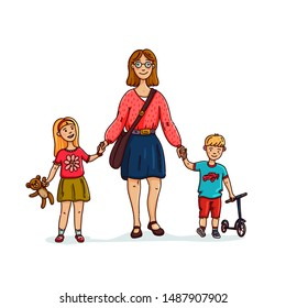Young stylish Mother or nanny, babysitter walking with 2 kids. Happy family. cartoon style illustration.