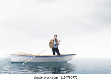 Young traveler looking at a map standing in an oar boat in an open sea. Concept of travelling, adventure and being lost. A white sky. 3d rendering mock up