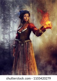Young voodoo sorceress standing in a dark forest at night and holding a flame in her hand. 3D illustration.