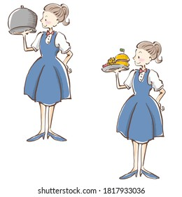 Young waitress holding food on plate in restaurant.