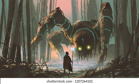 young wizard with magic staff and giant creature looking at each other in the forest, digital art style, illustration painting
