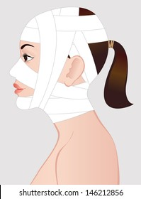Young woman after cosmetic surgery. Illustration