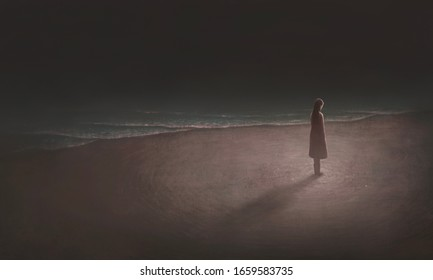 Young woman alone with night sea, sad, depression, loneliness, surreal painting