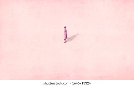Young woman alone in pink space, surreal painting