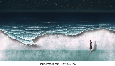 Young woman alone with surreal sea, painting artwork, fantasy art, imagination illustration, sad, loneliness