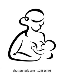 young woman breastfeeding her baby symbol. raster version
