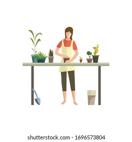Young woman busy with houseplants flat icon. Flower shop, floriculture, greenhouse. Leisure concept. illustration can be used for topics like hobby, houseplants, gardening