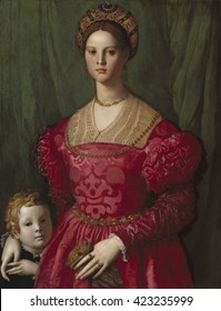 A Young Woman and Her Little Boy, by Agnolo Bronzino, c. 1540, Italian Renaissance painting, oil on canvas. A noblewoman of the court of Cosimo I de' Medici, Duke of Florence, in ornate and costly at