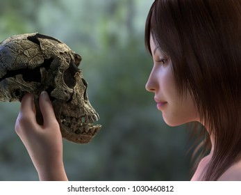 young woman is holding a skull of a prehistoric man, 3d illustration