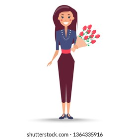 Young woman with long hair in navy blouse purle beads cropped trousers and stilettoes stands holds bouquet of roses raster illustration.