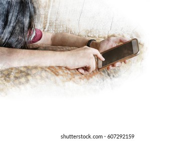 Woman Texting Phone Mad Stock Illustrations, Images