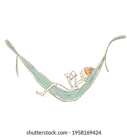 A young woman lying on hammock and reading a book