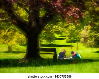 Young woman and man studying together on lawn in sunlight near park bench under large shade tree, with digital painting effect and canvas texture