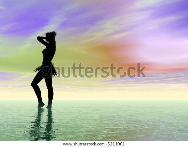 Young woman and ocean