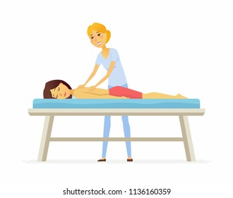 Young woman on a massage session - cartoon people character isolated illustration on white background. An image of a cute girl enjoying the procedure and a young blonde massagist. Healthcare concept