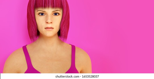 young woman pink blunt hair head 3D illustration