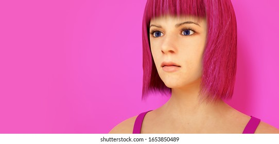 young woman pink hair girly style 3D illustration