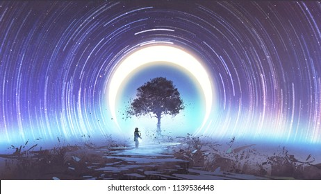young woman playing guitar for the magic tree against star trails and the moon in the sky, digital art style, illustration painting