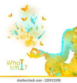 Young Woman Practicing Yoga In the Lotus Position, her Hands in  prayer mudra. Illustration from watercolor stains and spray?, isolated on a white background. Healthy Lifestyle Concept. Who am i?