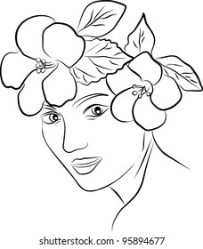 young woman profile, flowers spring hair - freehand on white background