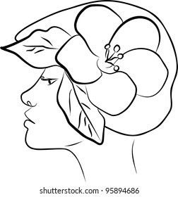 young woman profile with hat - freehand on white background