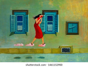 young woman reading a a book and walking on the clouds a quiet street of city at sunset surreal painting