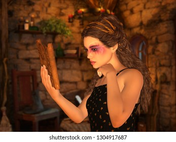Young woman reading old parchment in magical cottage. 3D rendering.