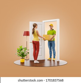 Young woman receiving cardboard box from delivery service courier at the door. 3d illustration Delivery and post concept.