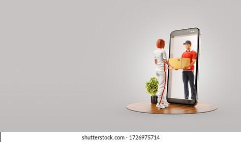 Joven recibiendo un paquete desde el servicio de envío de correo a través de la pantalla del teléfono inteligente. Concepto de entrega y envío de aplicaciones. Ilustración inusual 3d