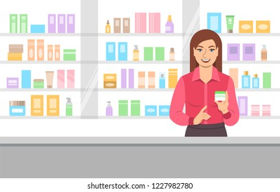 Young woman seller offering face cream at the counter of a beauty shop opposite shelves with skin care products. Cosmetic store Cartoon background