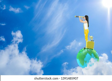 Young Woman standing on earth  and looking in spyglass with yellow suitcase, camera and hat, copy space for your text. Life destination and travel background idea concept, 3d render.