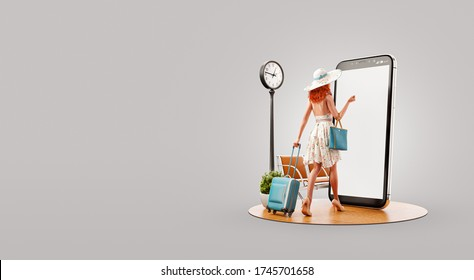 Young woman in summer dress goes with travel suitcase to smartphone screen and using smart phone application. Smartphone travel apps concept. Unusual 3d illustration