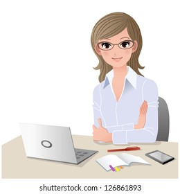 Young woman wearing glasses at desk with laptop computer and mobile phone. Copy space.Gradient, Blending tool is used.