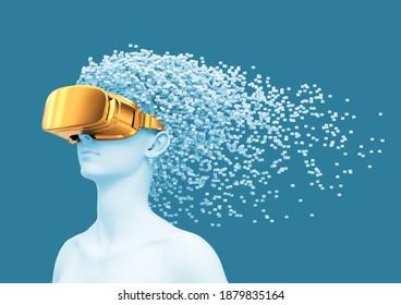 Junge Frauen tragen eine goldene VR-Brille und 3D-Pixel als Haare. 3D-Illustration.