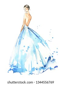 Young woman wearing long evening dress, bride. Watercolor illustration, hand painted