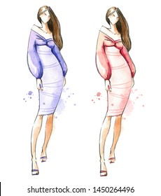 Young woman wearing skinny elegant dress, watercolor fashion illustration